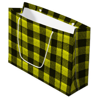 Yellow Gingham Checkered Pattern Burlap Look Large Gift Bag