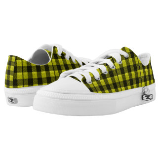 Yellow Gingham Checkered Pattern Burlap Look Low Tops