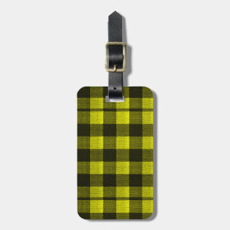 Yellow Gingham Checkered Pattern Burlap Look Luggage Tag
