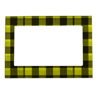 Yellow Gingham Checkered Pattern Burlap Look Magnetic Picture Frame