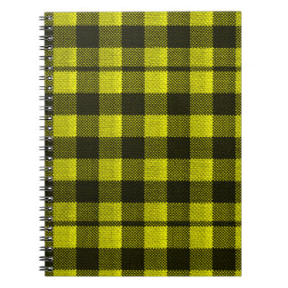 Yellow Gingham Checkered Pattern Burlap Look Notebook