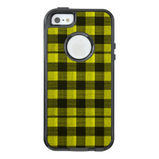 Yellow Gingham Checkered Pattern Burlap Look OtterBox iPhone 5/5s/SE Case