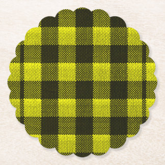 Yellow Gingham Checkered Pattern Burlap Look Paper Coaster