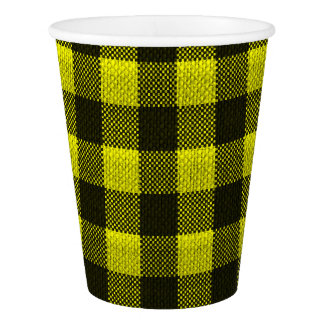 Yellow Gingham Checkered Pattern Burlap Look Paper Cup