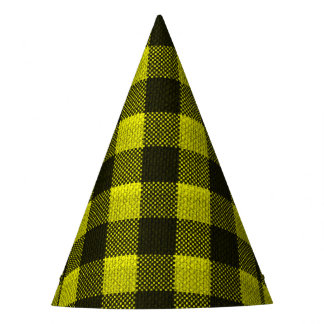 Yellow Gingham Checkered Pattern Burlap Look Party Hat