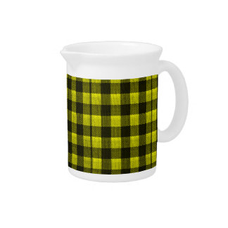 Yellow Gingham Checkered Pattern Burlap Look Pitcher