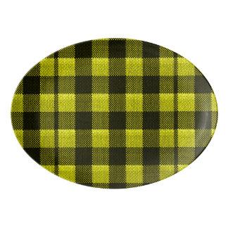 Yellow Gingham Checkered Pattern Burlap Look Porcelain Serving Platter