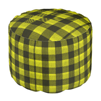 Yellow Gingham Checkered Pattern Burlap Look Pouf