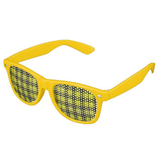 Yellow Gingham Checkered Pattern Burlap Look Retro Sunglasses