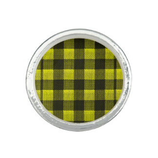 Yellow Gingham Checkered Pattern Burlap Look Ring