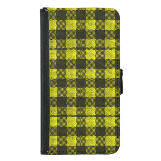 Yellow Gingham Checkered Pattern Burlap Look Samsung Galaxy S5 Wallet Case