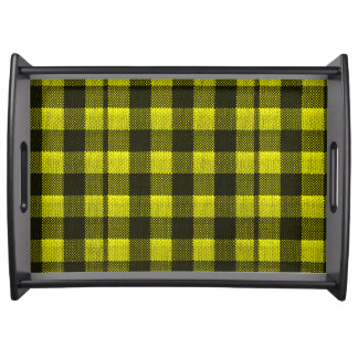 Yellow Gingham Checkered Pattern Burlap Look Serving Tray