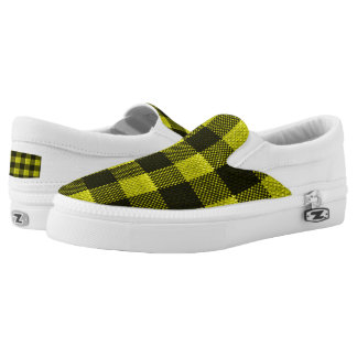 Yellow Gingham Checkered Pattern Burlap Look Slip-On Shoes