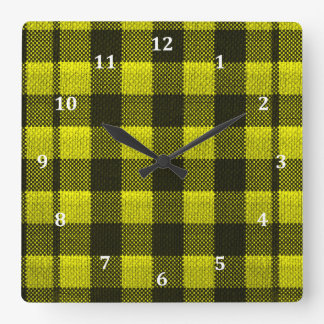 Yellow Gingham Checkered Pattern Burlap Look Square Wall Clock