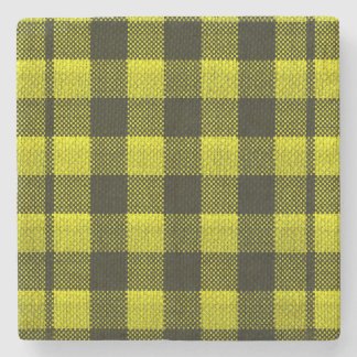 Yellow Gingham Checkered Pattern Burlap Look Stone Coaster