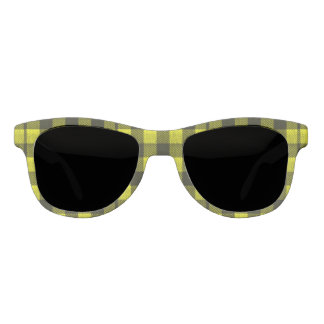 Yellow Gingham Checkered Pattern Burlap Look Sunglasses