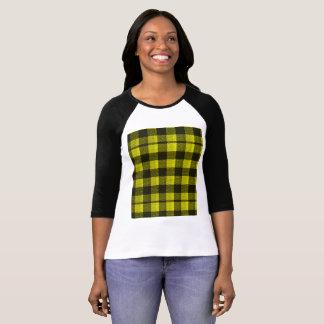 Yellow Gingham Checkered Pattern Burlap Look T-Shirt