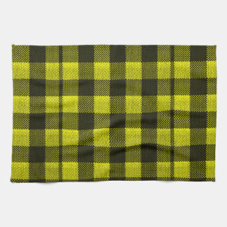 Yellow Gingham Checkered Pattern Burlap Look Tea Towel