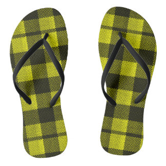 Yellow Gingham Checkered Pattern Burlap Look Thongs