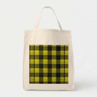 Yellow Gingham Checkered Pattern Burlap Look Tote Bag