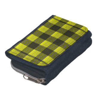 Yellow Gingham Checkered Pattern Burlap Look Wallets