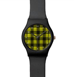 Yellow Gingham Checkered Pattern Burlap Look Watch