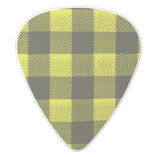 Yellow Gingham Checkered Pattern Burlap Look White Delrin Guitar Pick