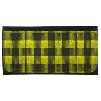 Yellow Gingham Checkered Pattern Burlap Look Women's Wallet