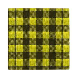 Yellow Gingham Checkered Pattern Burlap Look Wood Coaster