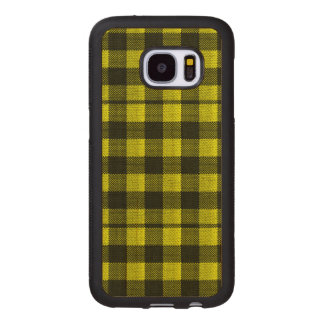 Yellow Gingham Checkered Pattern Burlap Look Wood Samsung Galaxy S7 Case
