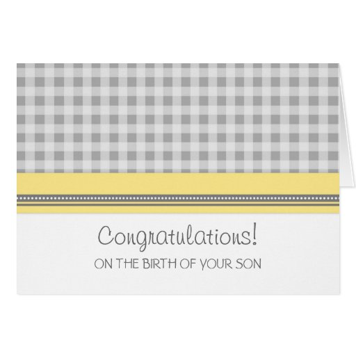 Yellow Gingham Congratulations New Baby Boy Card