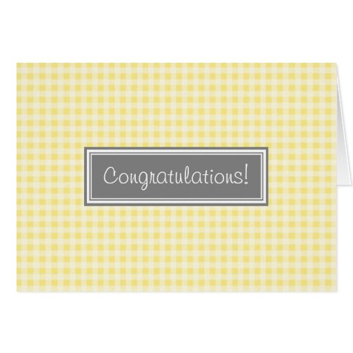 Yellow Gingham Congratulations New Baby Boy Greeting Cards