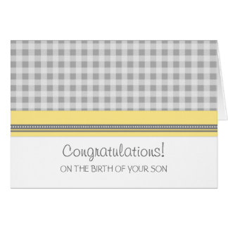 Yellow Gingham Congratulations New Baby Boy Greeting Card