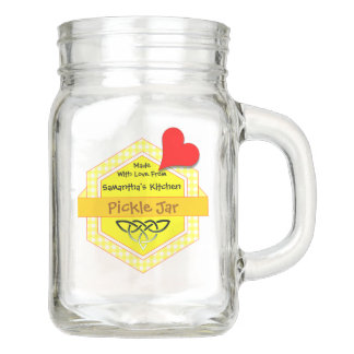 Yellow Gingham Honeycomb Shaped Badge Mason Jar