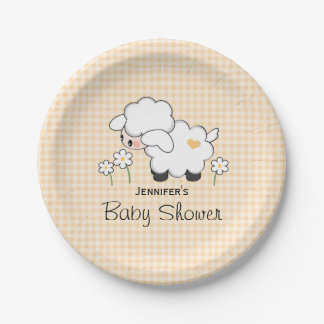Yellow Gingham Lamb Baby Shower Paper Plate