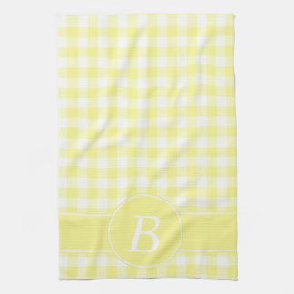 Yellow Gingham Monogram Kitchen Towel