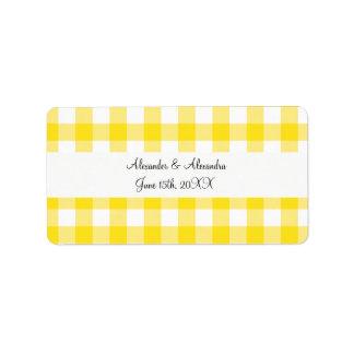 Yellow gingham pattern wedding favors address label