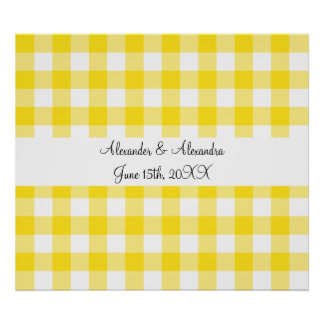 Yellow gingham pattern wedding favors posters