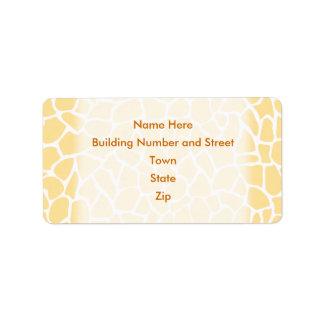 Yellow Giraffe Pattern Animal Print Design. Address Label
