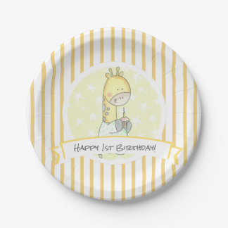 Yellow Giraffe Stripes With Cupcake First Birthday Paper Plate