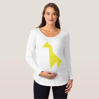 Yellow giraffe Tangram Maternity T-Shirt