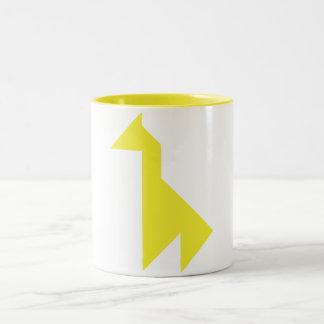 Yellow giraffe Tangram Two-Tone Coffee Mug