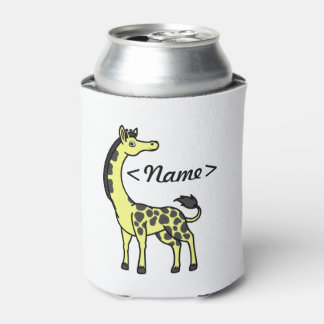 Yellow Giraffe with Black Spots Can Cooler