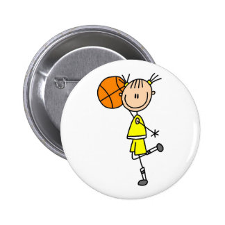 Yellow Girl Basketball Player T-shirts and Gifts 6 Cm Round Badge