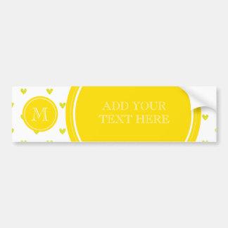 Yellow Glitter Hearts with Monogram Bumper Stickers