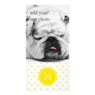 Yellow Glitter Hearts with Monogram Customized Photo Card