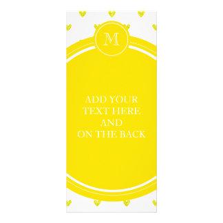 Yellow Glitter Hearts with Monogram Custom Rack Card