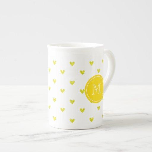 Yellow Glitter Hearts with Monogram Porcelain Mugs