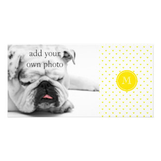 Yellow Glitter Hearts with MonogramCute Personaliz Personalized Photo Card