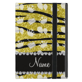 Yellow glitter zebra stripes birthday cake balloon iPad mini cases